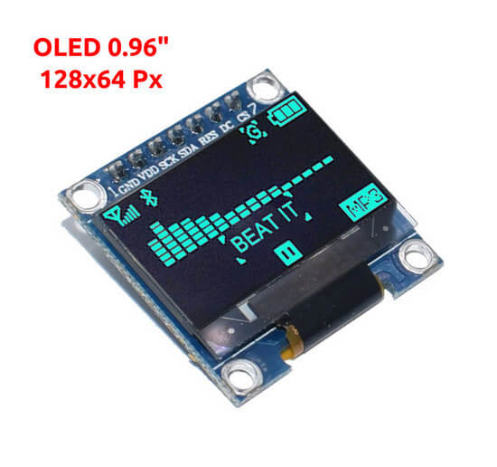 Display OLED 128x64Px - 0.96 - 7 Pin - Azul