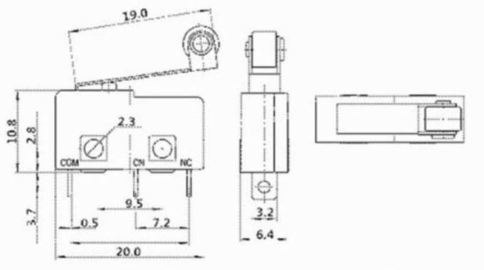 Chave Micro Kw11-3Z 5a 250v 3pin - com roldana
