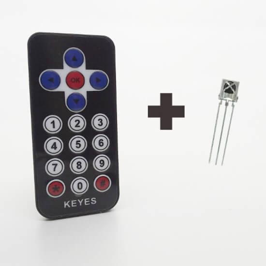 Controle Remoto IR 38KHz - 17 Teclas + Receptor VS1838B