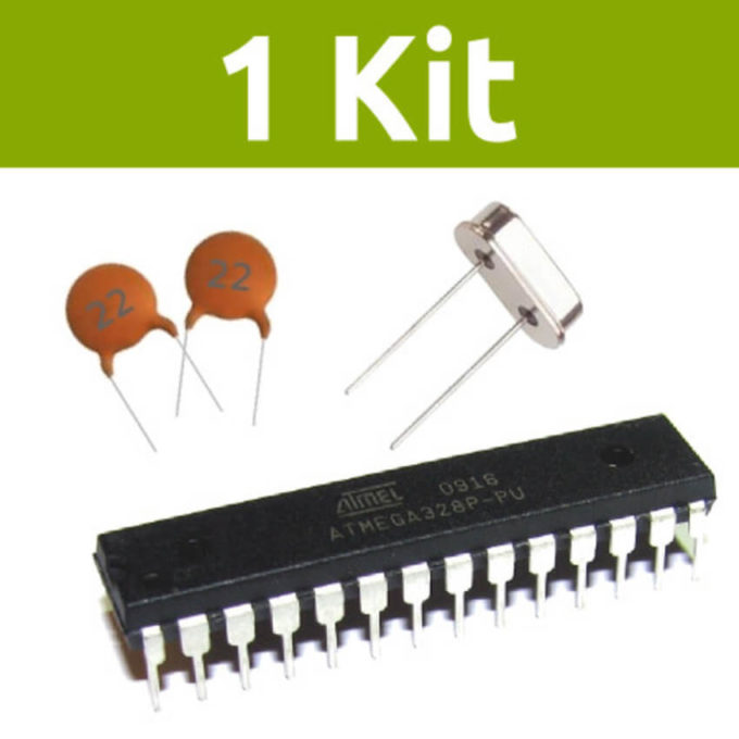 Kit com 1 Atmega328p-PU + 1 Cristal + 2 Capacitores