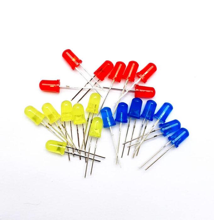 Kit 21 Leds 5mm difusos coloridos