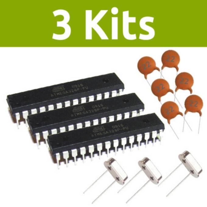 Kit com 3 Atmega328p-PU + 3 Cristal + 6 Capacitores