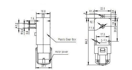 Motor DC Caixa de Redução de Plástico 3V a 6V - 1 Eixo