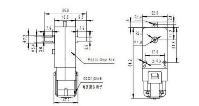 Motor DC com Caixa de Redução de Plástico 3V a 6V