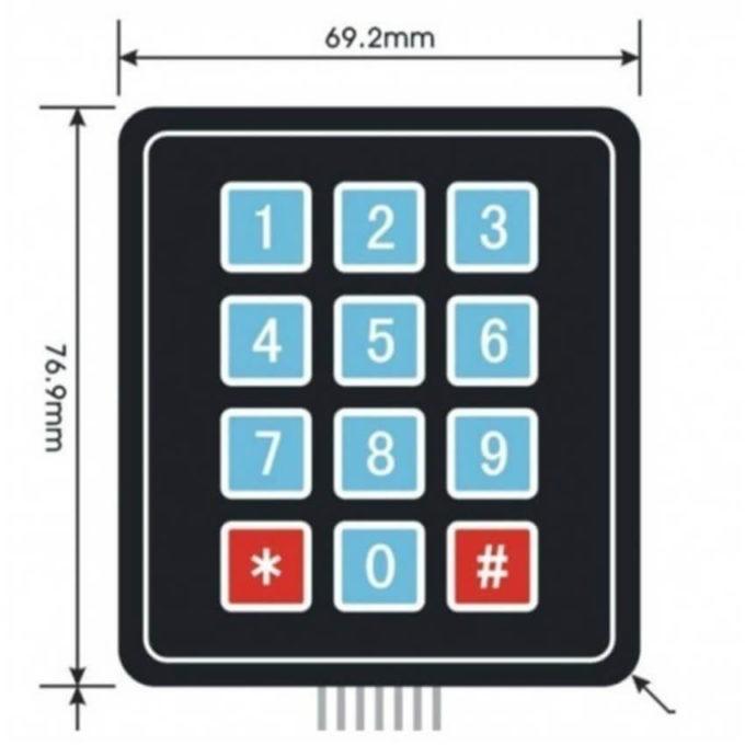 Teclado Matricial de Membrana 3x4 Numérico
