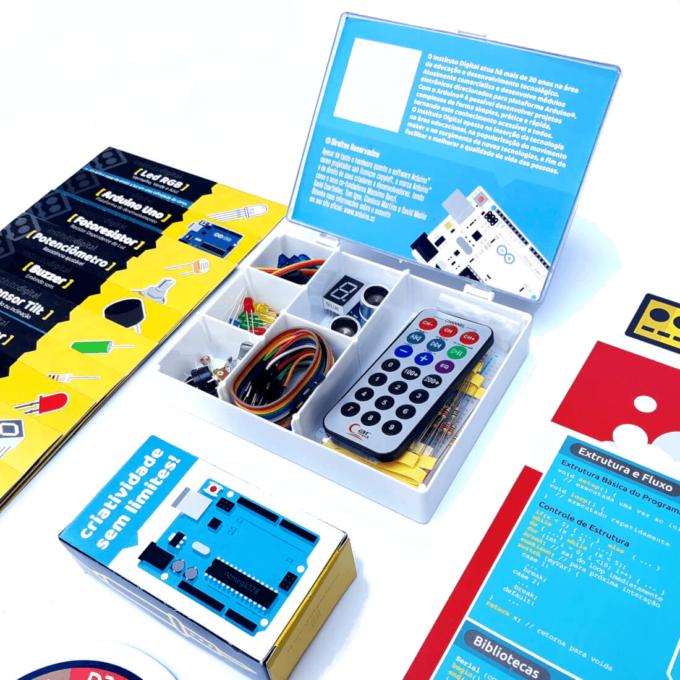 Kit Arduino Uno 3 Iniciante com Cards Explicativos